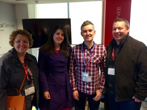 Liz Whitefield (Delivery Manager), Rachel Woods (Product Owner), Chris Beardsell (User Researcher) and Kevin Adams (Lead Developer) pictured straight after their GDS Alpha review