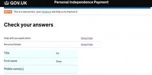 PIP Digital Service showing the 'Check your answers' function