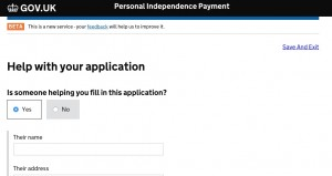 PIP Digital Service showing the 'Help with your application' function