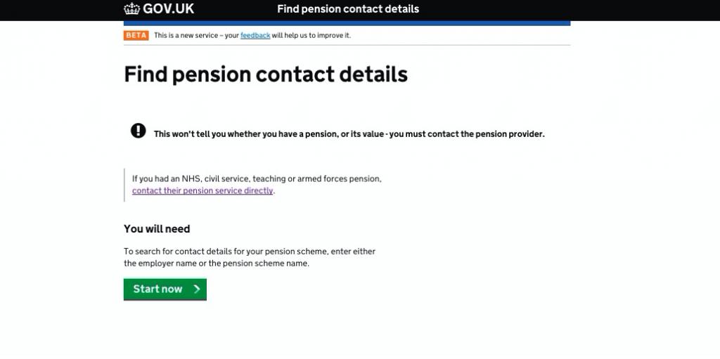 Prototype digital Pensions Tracing Service