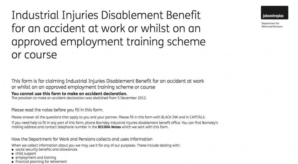 An existing Industrial Injuries Disablement Benefit form