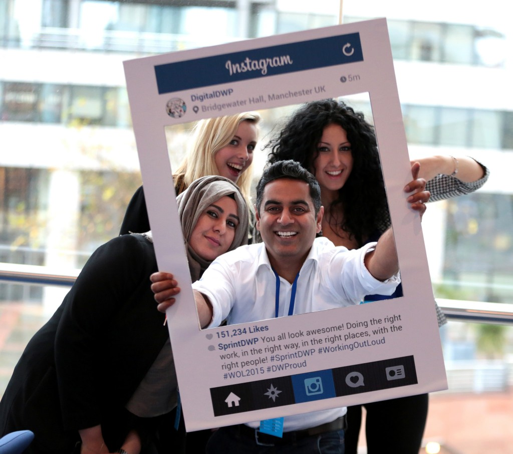 Kailesh Sudra (centre) and Samiah Javaid (left) from BTG's Social Media team at the Sprint DWP event in Manchester