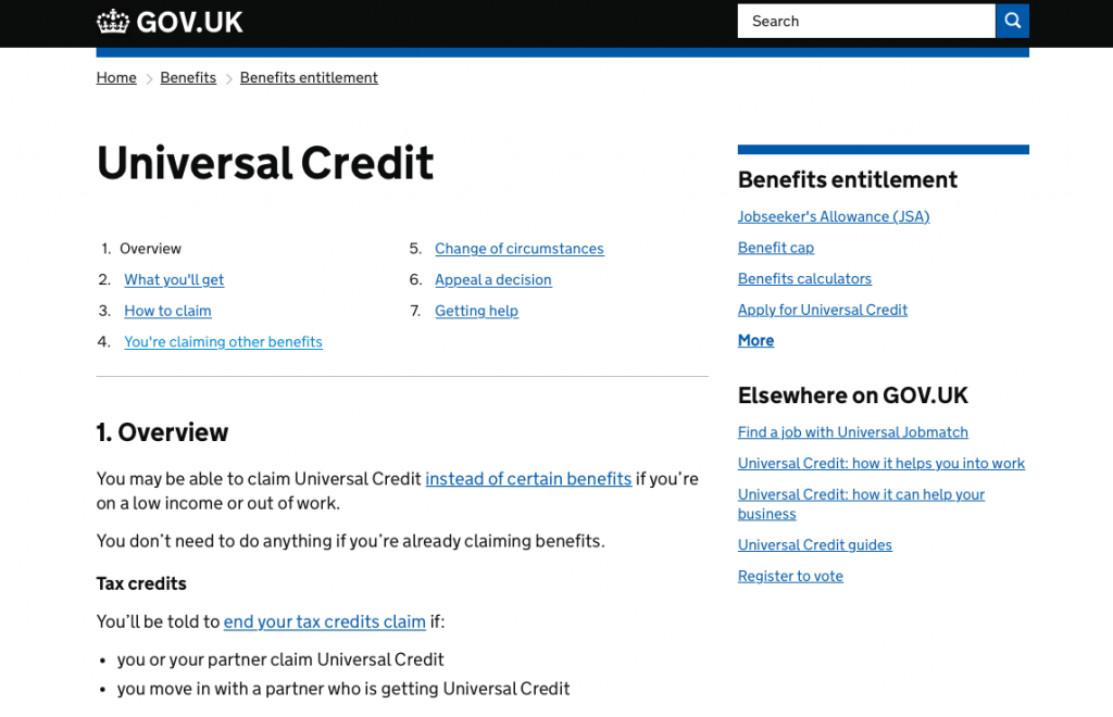 Universal Credit information on Gov.uk