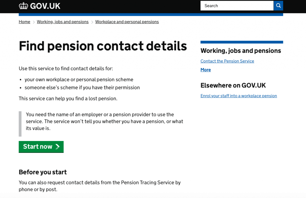 The Find Pension Contact Details service