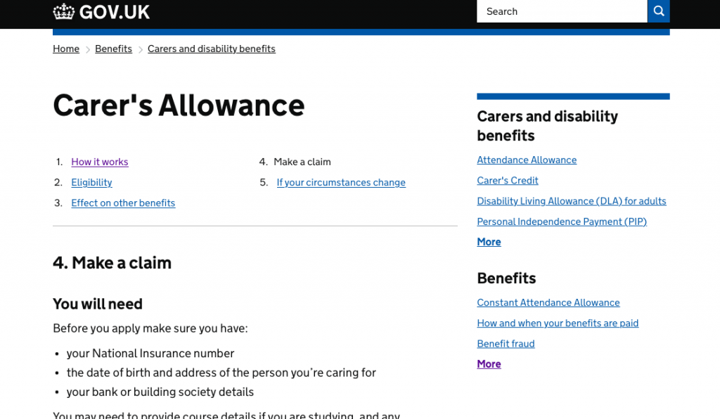 Carer's Allowance Digital Service