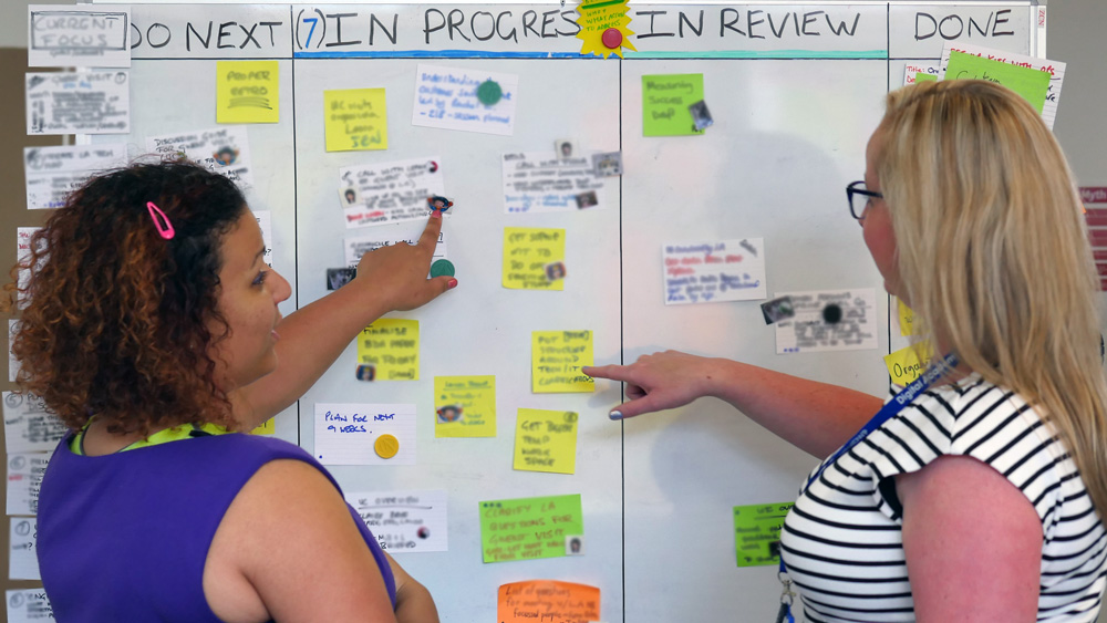 Chloe and Jo at the kanban in DWP's Leeds transformation hub