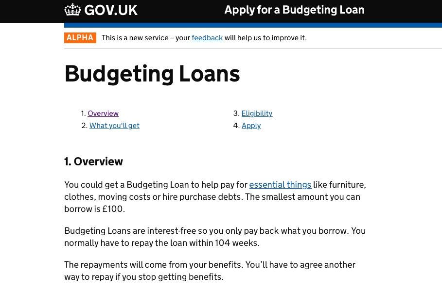 Prototype of the online Budgeting Loans service