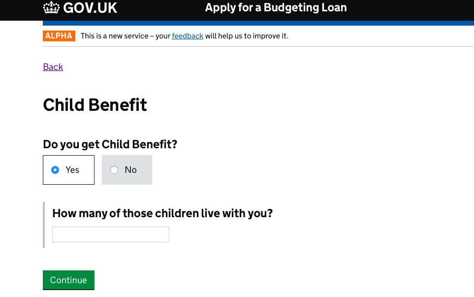 Child Benefit section of the prototype following user research insight
