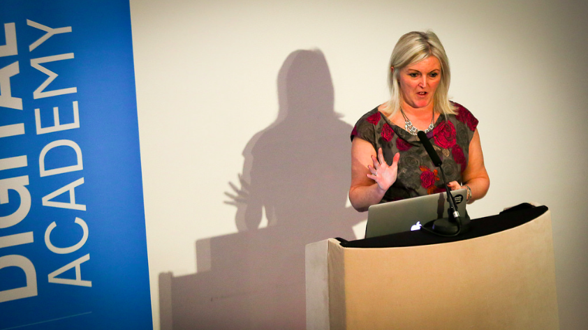 Joanne Bradshaw on stage at a recent event