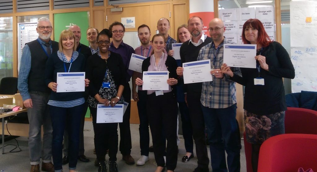 Hayley and other Business Analysts graduating from the DWP Digital Academy