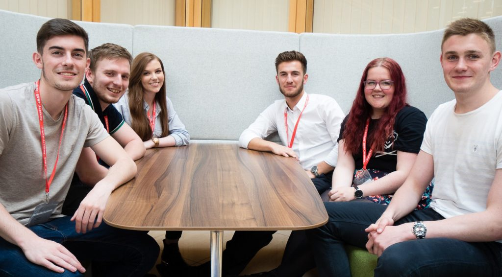 Interns from the University of Leeds: Sam, Callum, Holly, Lewis, Emily and George (left to right)