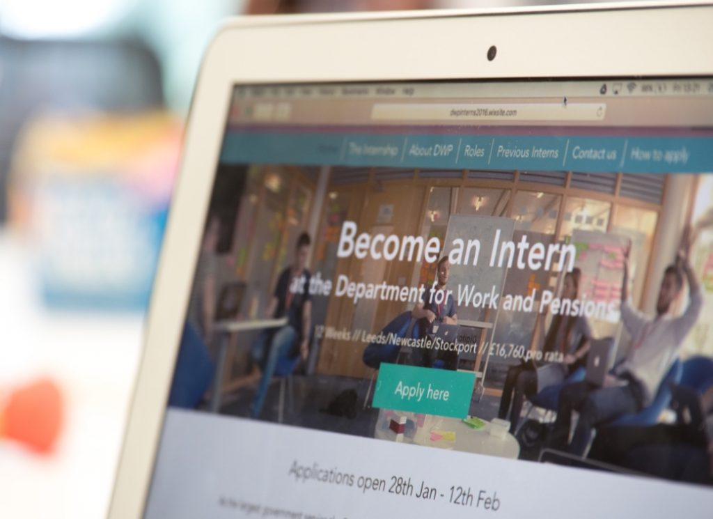 The DWP interns' prototype digital internship website