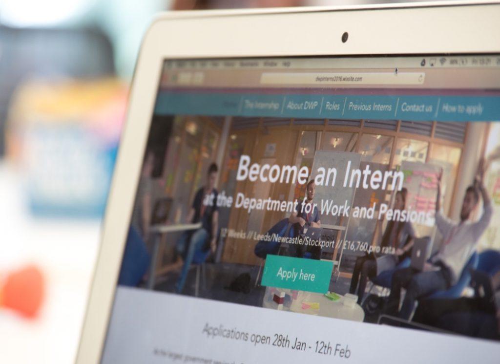 The DWP interns' prototype digital internship website