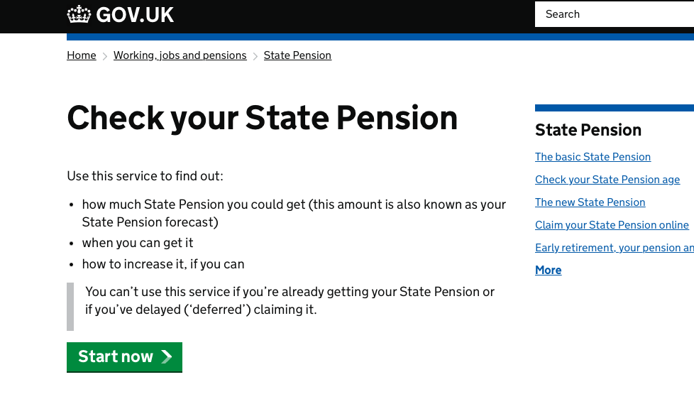 The Check your State Pension online service