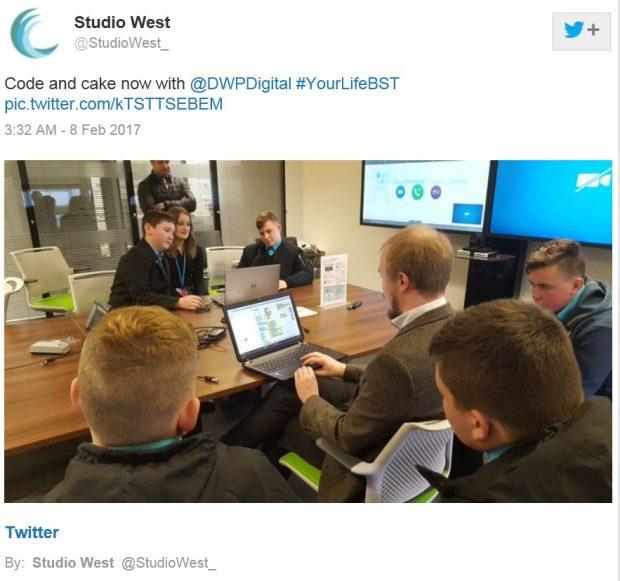 Tweet from Studio West School