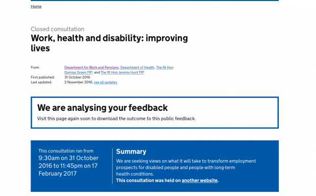 The Work and Health consultation website