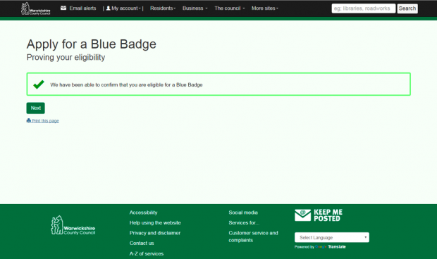 The eligibility screen from Warwickshire County Council's online Blue Badge renewal service