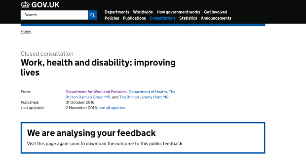 The Work, health and disability: improving lives consultation