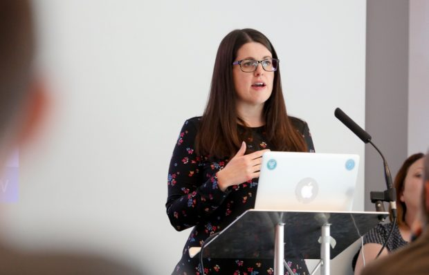Rachel Woods talks about mission statements at the recent Product People event