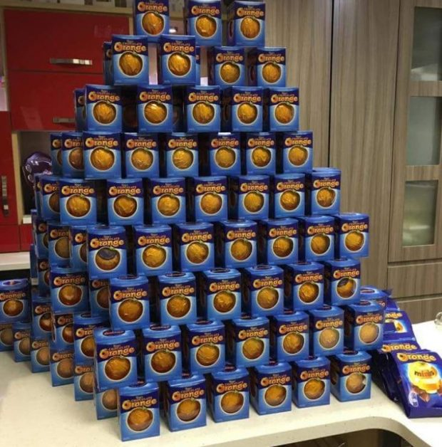 Picture of the chocolate oranges collected into a pyramid shape