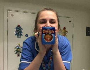 A nurse with her chocolate orange