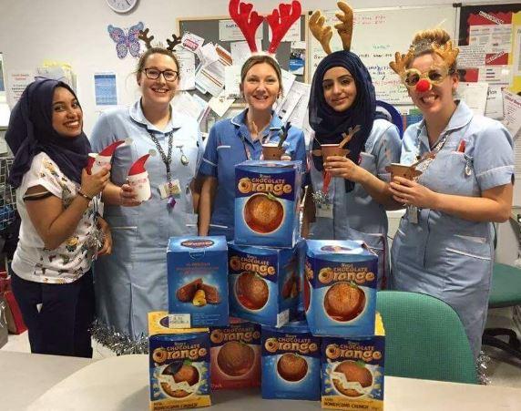 Nurses with their chocolate oranges