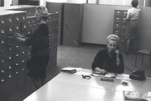 Work for women was mainly clerical - filing room 1967