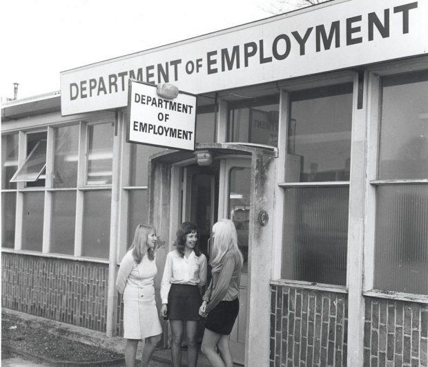 Women outside the office - 1972
