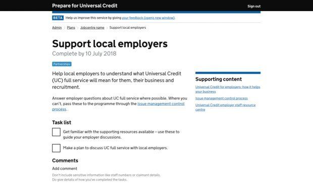 The Prepare For Universal Credit digital service