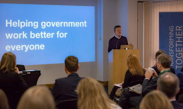 Kevin Cunnington from GDS addresses delegates during Transforming Together