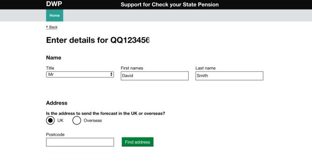 A webpage from the internal Support for Check Your State Pension service.