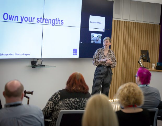 DWP Digital's Pippa Peasland, speaking at an International Women's Day event