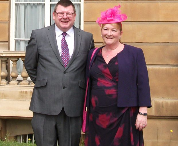 Dennis and his wife Sandra at the Royal Garden Party at Buckingham Palace