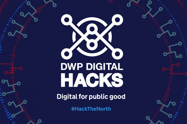 A graphic saying DWP Digital Hacks - Digital for public good, #HackTheNorth