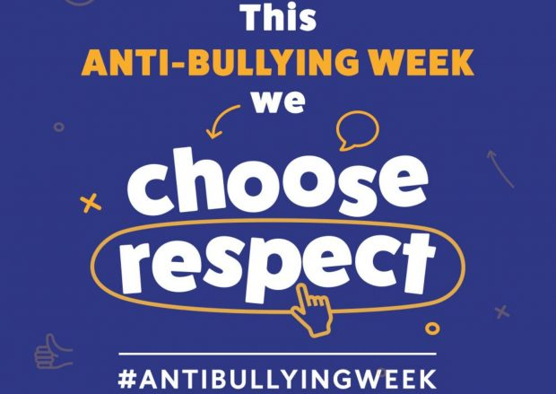 Anti-bullying Week poster with the words 'We Choose Respect' and the hashtag Anti Bullying Week