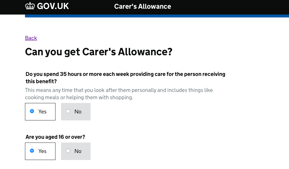 A screen from Apply and Maintain Carer's Allowance