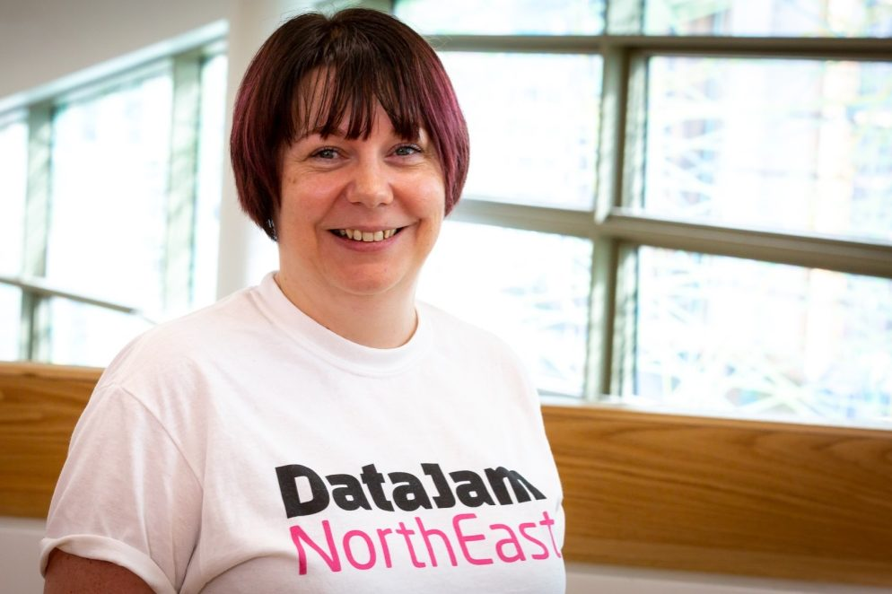 Alyson Atkinson wearing a Data Jam North East t-shirt