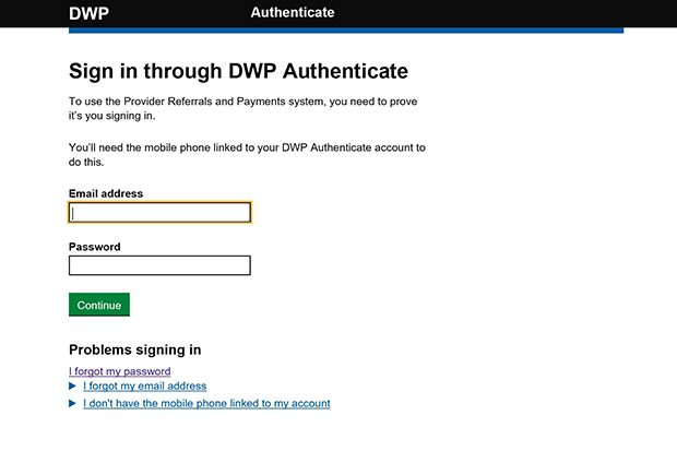 Screen shot of the Authenticate signing in window asking the user for their email address and password