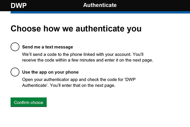 Choice of authentication screen where the users need to choose the way they are going to authenticate themselves either by text messge or the phone app