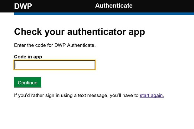 The 2-Factor authentication screen from DWP's Authenticate service for third parties who need access to an internal DWP system  which asks people to input a code from an app to gain access to the service