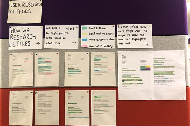 Examples of The highlighter testing Adele's team carried out for Get your State Pension on a chanson wall.