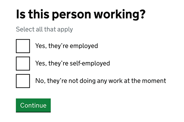 Screen shot of the first replacement screen asking if the claimant is employed, self-employed or unemployed