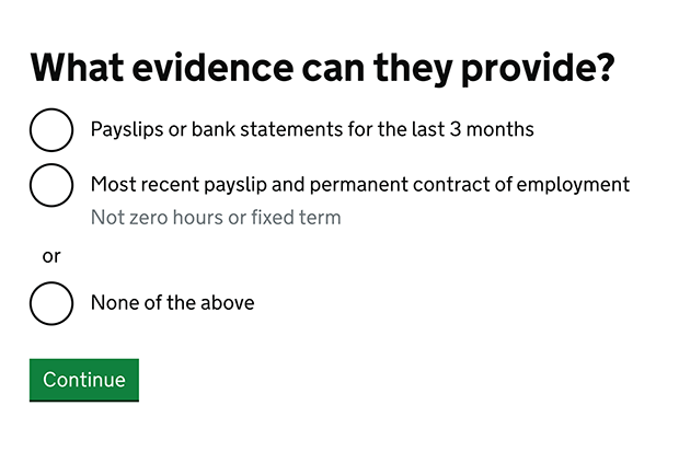 Screen shot of the second replacement screen asking what evidence they can provide. The options are payslips or bankstemens for the last 3 months, most recent payslip and permanent contract of employment (not zero hours or fixed term) and none of the above