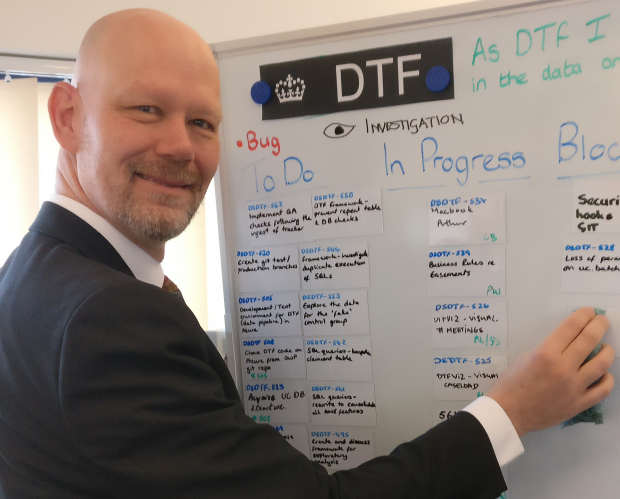 Pieter Wessels at a data board
