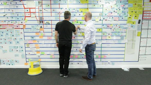 Two male colleagues working at a kanban planning board
