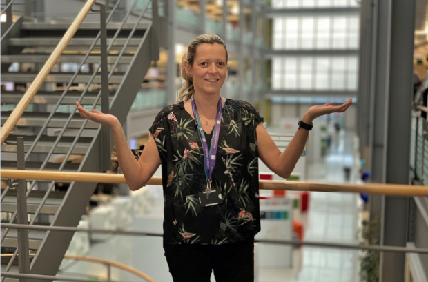 Marie, one of our Digital Voices, striking the IWD #BalanceforBetter pose