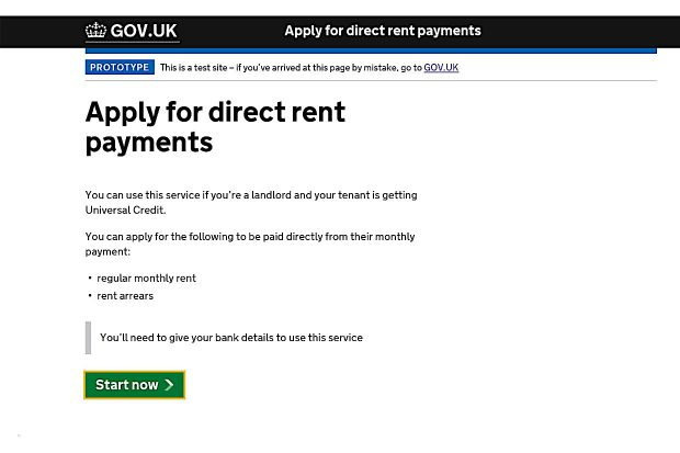 Apply for direct rent payments screenshot