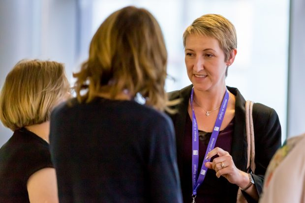 Cheryl Stephens talking to colleagues at last year's Women in Digital event