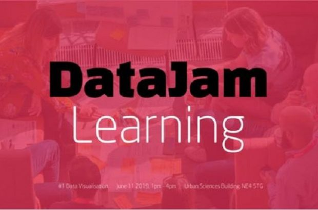 DataJam Learning information card. Event #1 Data Visualisation June 11 2019 1pm - 4pm. Urban Sciences Building, NE4 5TG