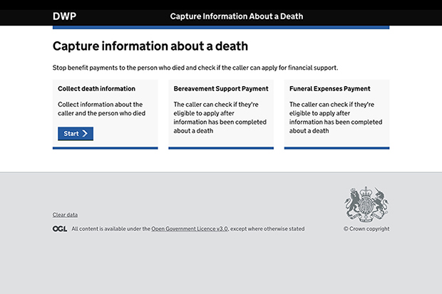 The Capture information about a death digital service website home page, including Collect Death Information, Bereavement Support Payment and Funeral Expenses Payment